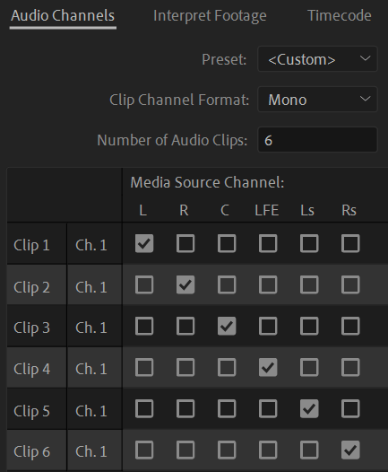 5.1 channel mapping