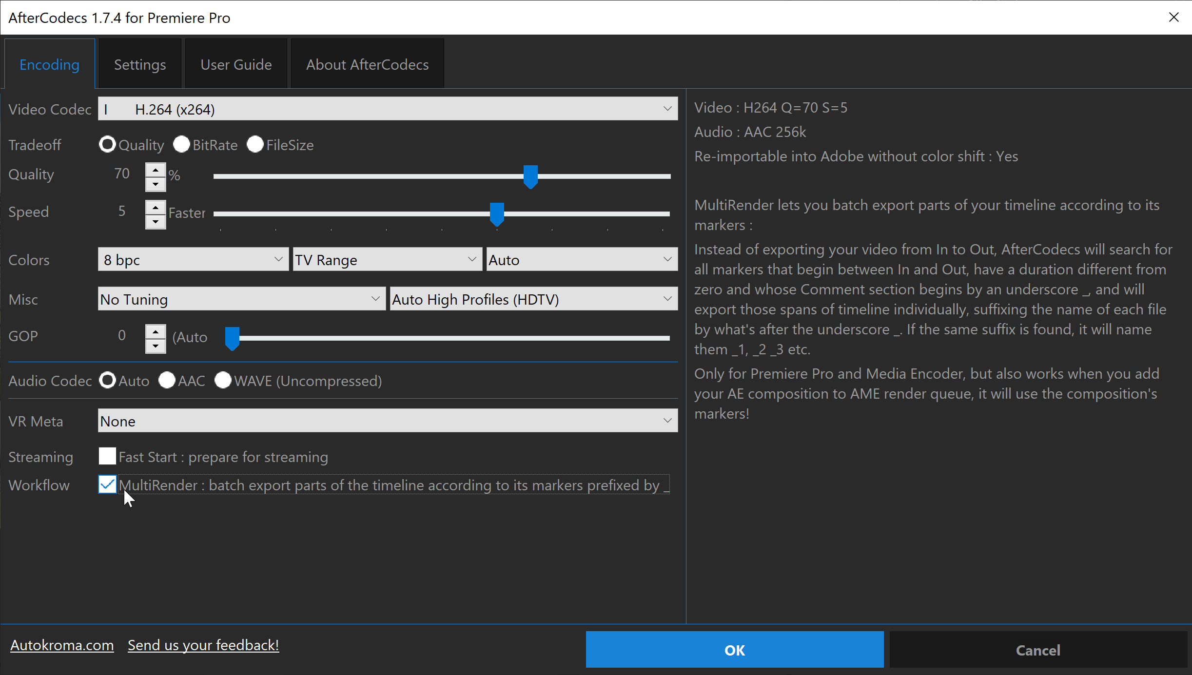 PProAME AfterCodecs MultiRender Checkbox