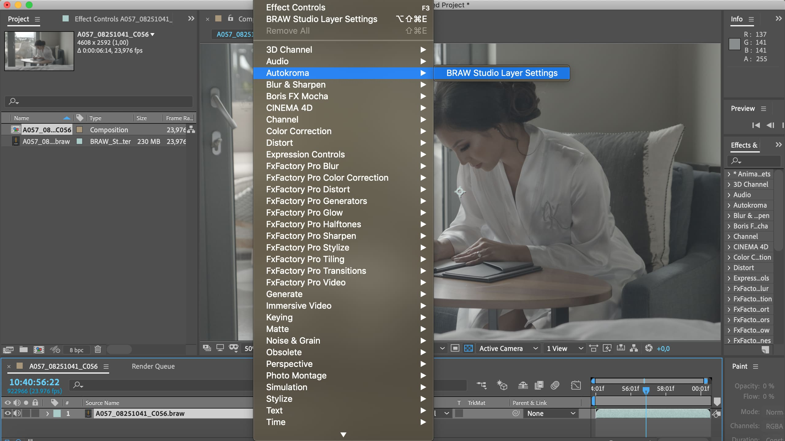 BRAW Studio for Adobe After Effects on Mac OSX (Blackmagic RAW importer plugin screenshot)