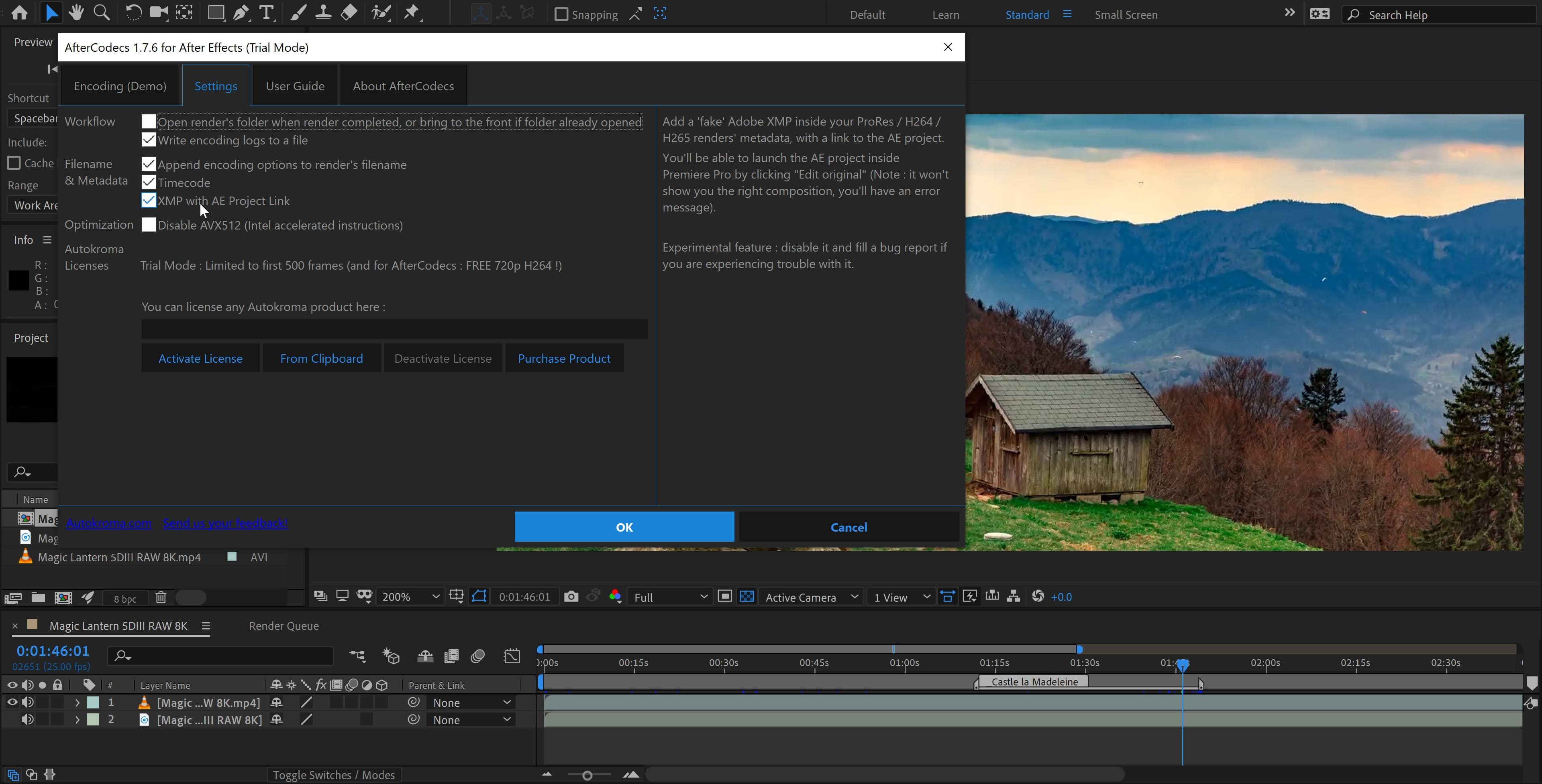 AfterCodecs for Adobe After Effects on Microsoft Windows (Fast exporter plugin screenshot)
