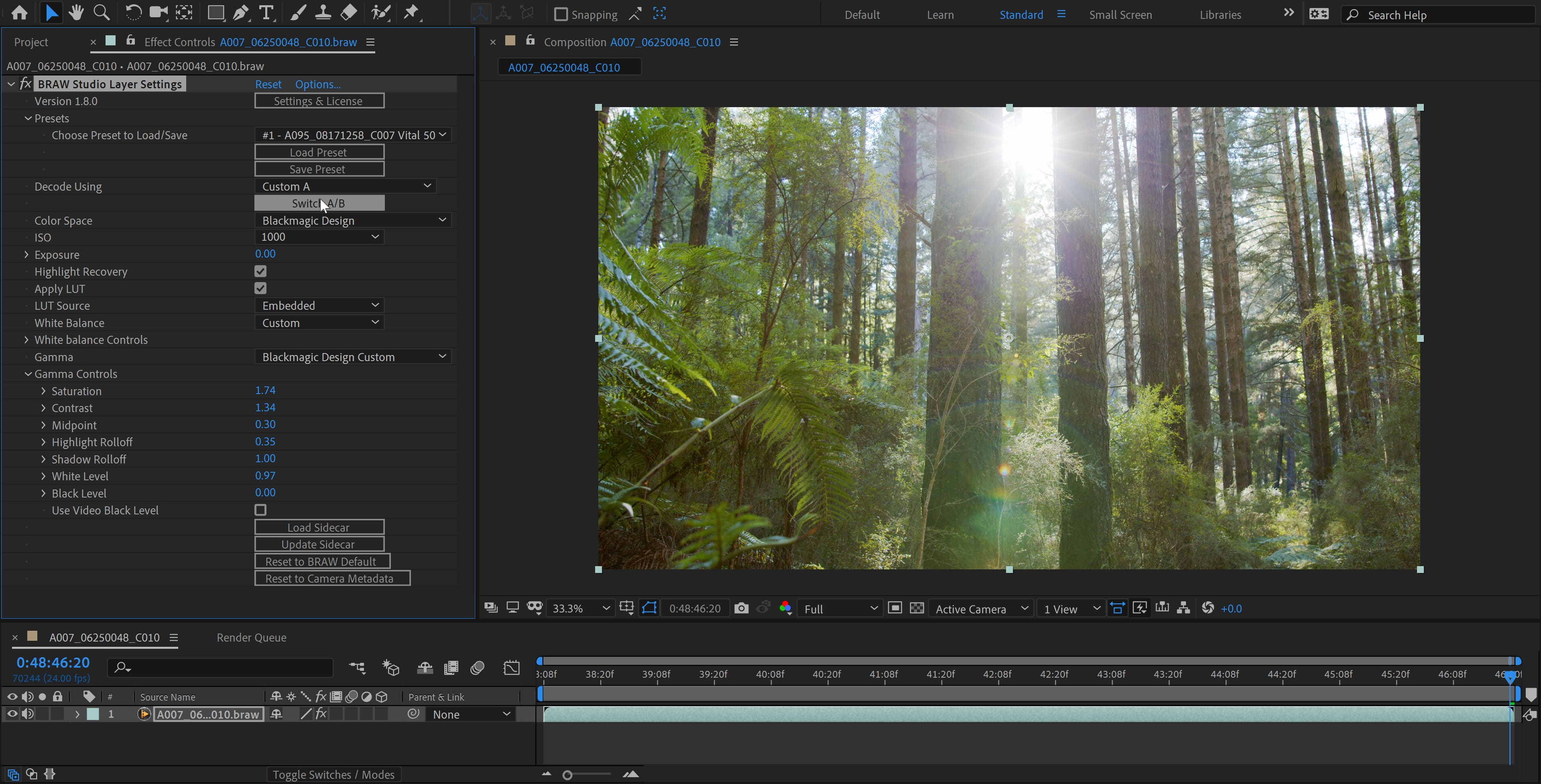 BRAW Studio for Adobe After Effects on Microsoft Windows (Blackmagic RAW importer plugin screenshot)