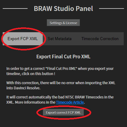 Timecode Panel Export FCP XML
